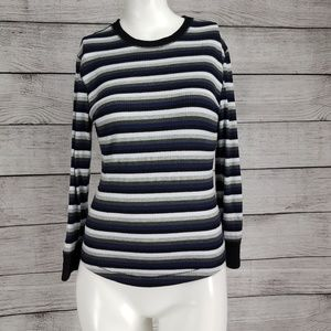 Intimately Free People M Striped Long Sleeve Tee